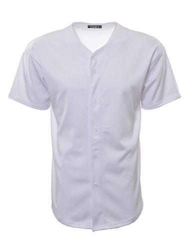 YoungLA Men's Baseball Jersey T-Shirts Plain Button Down Sports Tee 303 All White M