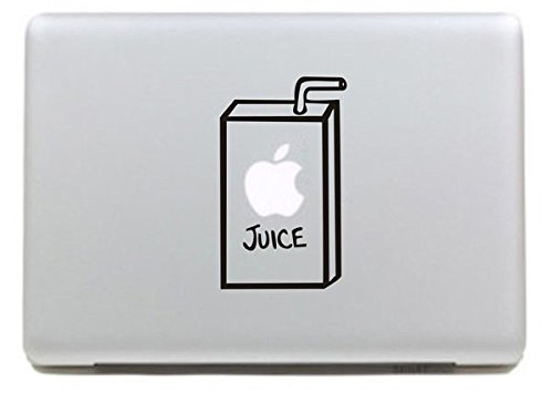 NetsPower Monogram Design Vinyl Decal Sticker Power-up Art Black for Apple MacBook Pro/Air 13' 15' Inch - Apple Juice 2