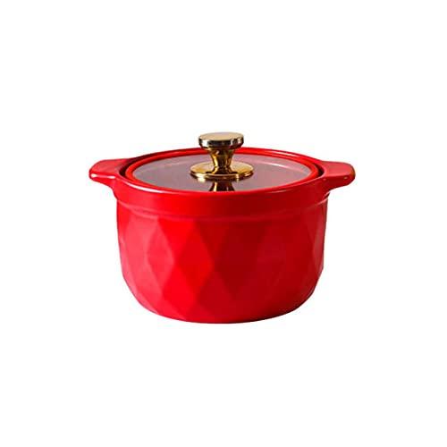 Cerámica Cocotte con Tapa,Calor-Resistente Antiadherente Cazuela Olla De Barro Olla para Sopa,Manijas Calentador De Alimentos Nutricional Cena Acampada Regalo-Rojo 25x12cm(10x5inch)