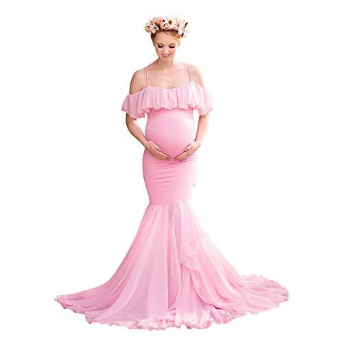 IBAKOM Femme Enceinte Robe Maternité Shooting Photo Mousseline Volants à épaules dénudées Grossesse Photographie Soirée Mariage Cocktail Robes Maxi Longue Rose M