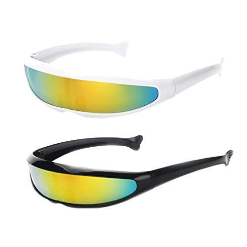 SM SunniMix 2 Stück Space Alien Sonnenbrille Cosplay Narrow Cyclop Eyewear Party Favor