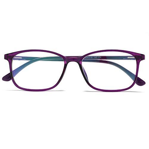 KOOSUFA Blaulichtfilter Brillen Ultra Licht TR90 Brillengestelle Anti Blaulicht Brillen Ohne Sehstärke Damen Herren Computer Gaming Brillen Anti Müdigkeit mit Etui (Violett)