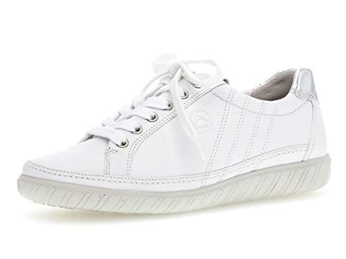 Gabor Damen Low-Top Sneaker 26.458.50, Frauen Halbschuh,Schnürschuh,Strassenschuh,Business,Freizeit,Weiss/Argento,43 EU / 9 UK