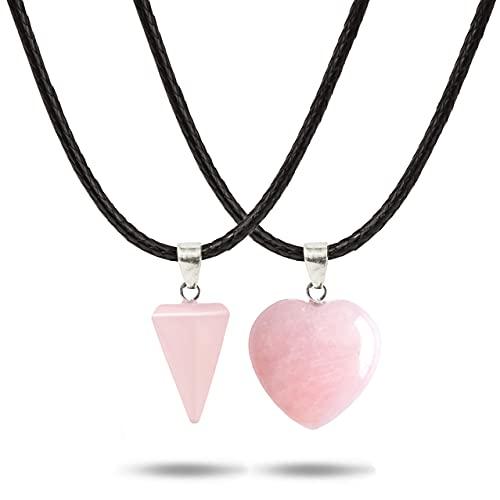 HAND-PRO Collar Cuarzo Rosa Piedra Natural Collar corazón de Cuarzo Natural Colgante Cuarzo Rosa Collar Cuarzo Natural