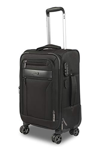 Nasher Miles Berlin 20 Inch ,Cabin, Expander, Soft-Sided, Polyester Luggage, Black 55cm Trolley Bag