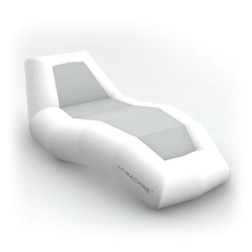 INFLATABLE Sun Lounger for Kids and Adults, Outdoor CAMPING, Indoor GAMING Air Hammock Chair Sunbed many colours. (white + grey)