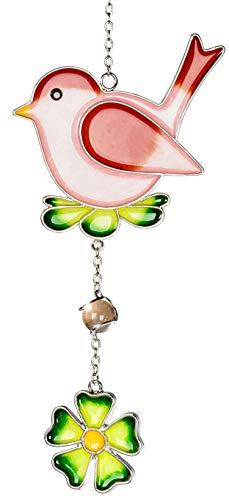 dekojohnson Moderne Deko für das Fenster-Hänger Dekohänger Glasbild Deko Tiffany Vogel mit Blume Grün Rot 21cm