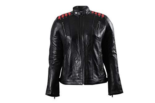 Urban Leather Chaqueta Moto Mujer Con Protecciones |Cazadora Moto Mujer Rising Star | Chaqueta Piel Moto con Protecciones CE Para Hombros, Codos y Espalda|Negro |5XL