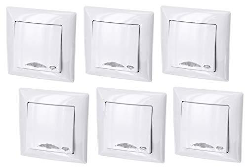 6er PACK - UP Taster mit Licht-Symbol + LED-Beleuchtung - All-in-One - Rahmen + Unterputz-Einsatz + Abdeckung (Serie G1 reinweiß)