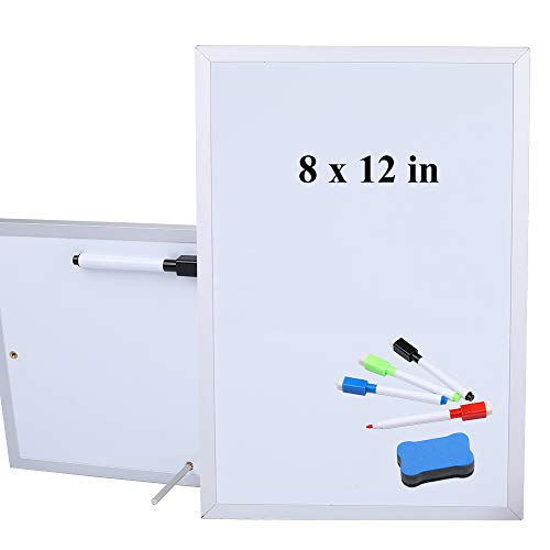 Aelfox 12 x 8 Inch Desktop Whiteboard, Magnetic Small Dry Erase Board with Stand Double-Sided Planner Whiteboard Reminder Board with Dry Erase Marker for Office, Home, School