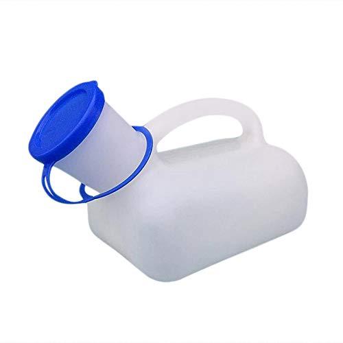 Dreameryoly Botellas de orina Botellas de PIS de plástico portátiles a Prueba de derrames para Hombres con Tapa y Conector a presión para automóvil Viajes Ancianos e incontinencia Azul 1000ml Lovable
