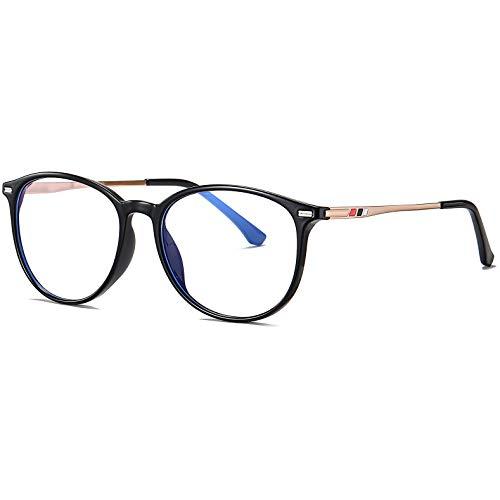 Benefast Blaulichtfilter Brille Damen Herren ohne stärke Computerbrille Gaming Brille Blaufilter PC Brille Bluelight Filter TR90 & Metal Rahmen (Schwarz)