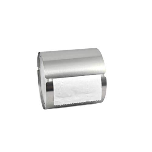 Yardwe Toilettenpapierhalter aus Edelstahl Wandmontierte wasserdichte Toilettenpapierhalter für Bad Edelstahl Seidenpapier Rollenhalter Runde (Silber)
