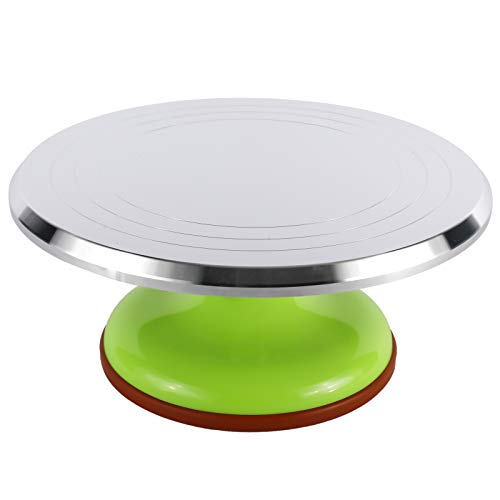 Homtone Alzata per Torte Rotonda, Piatto Girevole per Torta in alluminio un diametro di 30 cm, Alzata per Dolci Girevole, Strumento Decorativo, Decorazione per Feste, Matrimoni (Verde)