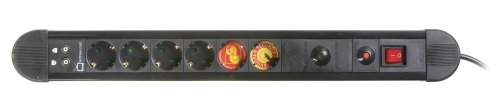 Vivanco 6-fach Steckdosenleiste mit Überspannungsschutz, Schalter und Kindersicherung, Überlastschutz für Koaxial (TV/Radio/SAT), TÜV und GS geprüft, schwarz