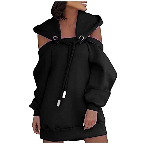 yiouyisheng Vestido de mujer con hombros descubiertos, con capucha, monocolor, para...