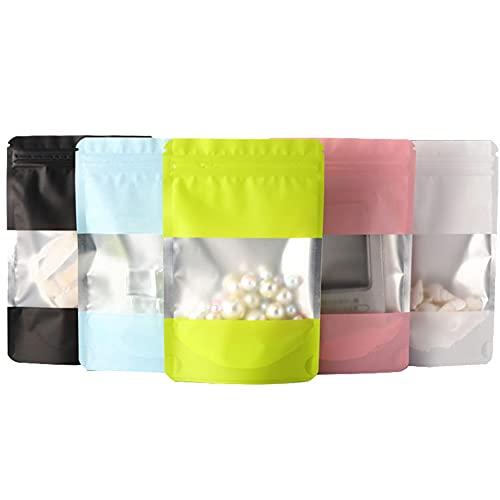 100 Piezas Bolsas Ventana Transparente, Bolsas Embalaje, Hermético Bolsas Selladas, Un Total De 5 Colores y Una Fuerte Estanqueidad Al Aire, Que Se Utiliza Para Almacenar Granos, Condimentos, Dulces