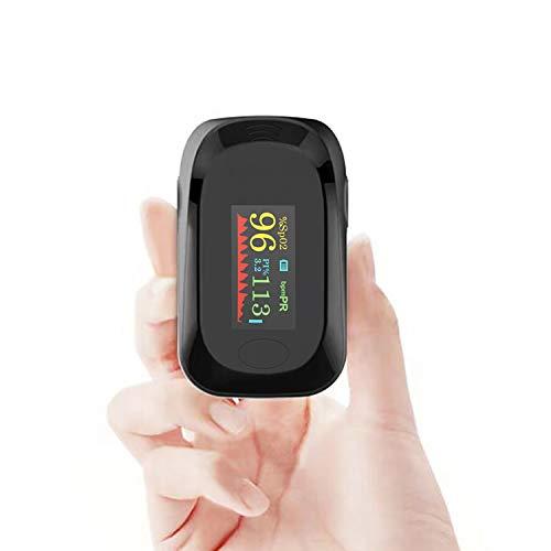 Pulsmessung, Pulsmessung, Pulsmesser, Fingerspitze Blutsauerstoffsättigung Monitor mit LED-Anzeige für Erwachsene und Kinder, tragbar und einfach zu bedienen (schwarz)