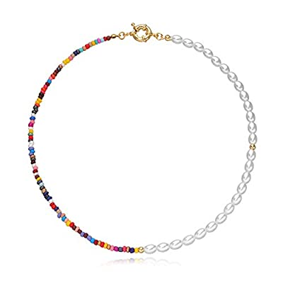 Bohemian Bead Pearl Choker Necklace for Women Girls Handmade Colorful Seed Beaded Choker for Women Jewelry