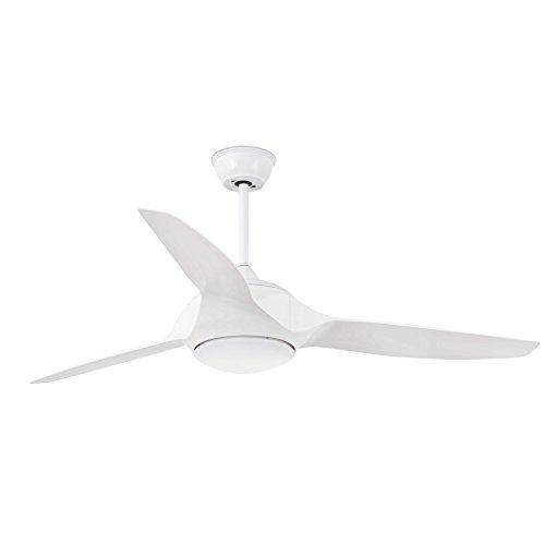 Faro Barcelona 33408 - KAILUA Ventilador de techo con luz (bombilla incluida) LED, 15W, cuerpo de acero, palas blancas abs, difusor pmma opal, color blanco
