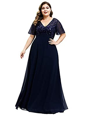 Ever-Pretty Women's V-Neck Embroidered Bridesmaid Dress Plus Size Bridesmaid Dress Navy Blue US20