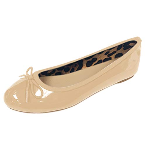 Gold Toe Womens Patent Ballet Flats with Bow, Cushioned Insoles,Easy Slip On/Off (Nude,6)