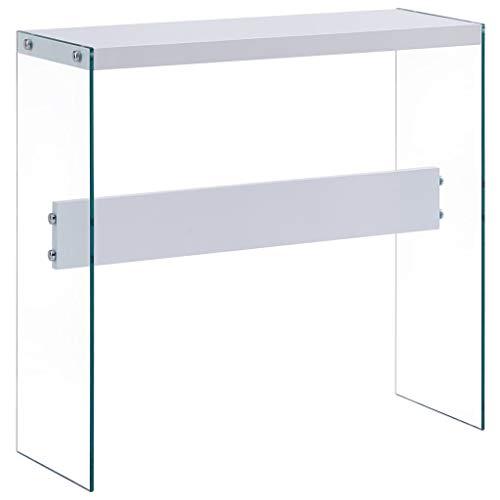 vidaXL Konsolentisch Konsole Ablagetisch Beistelltisch Flurtisch Wandtisch Sideboard Highboard Wohnzimmer Tisch Eingang Weiß 82x29x75,5 cm MDFHochglanz
