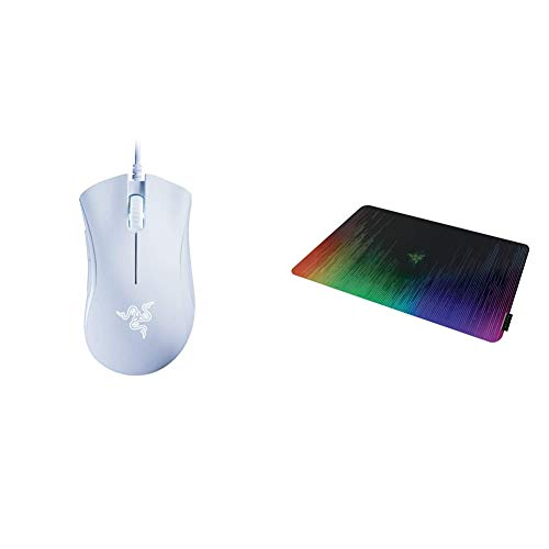 Razer DeathAdder Essential Gaming Mouse - White & Sphex V2 Gaming Mouse Pad: Ultra-Thin Form Factor - Optimized Gaming Surface - Polycarbonate Finish