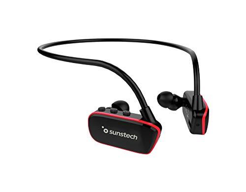 ARGOS Sunstech Reproductor MP3 8GB Sumergible Impermeable IPX8 Diseñado para el Deporte y la natación Batería Recargable 200mAh. Almohadillas terrestres y acuáticas Incluidas. Negro - Rojo.
