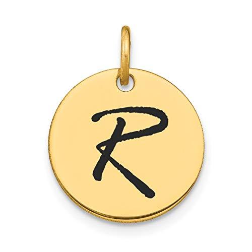 Colgante de oro pulido de 14 quilates con letra R negra epoxi con dije de disco, joyería para mujeres