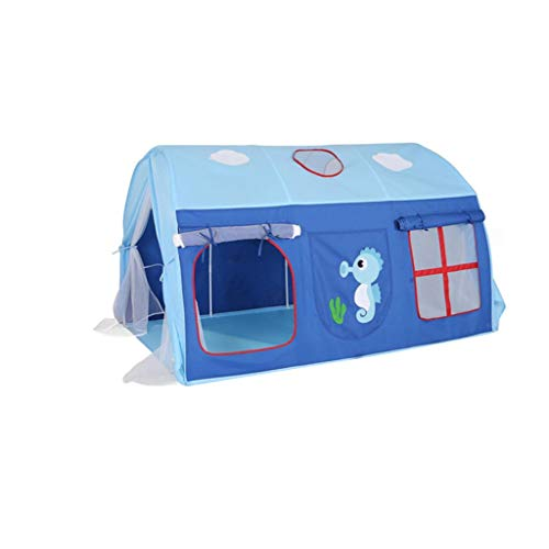 Tents Blue Tunnel, Kids Crib Bed Boy's Bedroom Decorative Playhouse with marine pattern children's Private space/Play (Color : Blue, Size : 145 * 105 * 90CM)