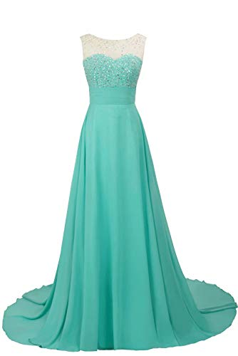 MisShow Damen Elegant Abendkleid glitze Brautjungfernkleid lang Mintgrün