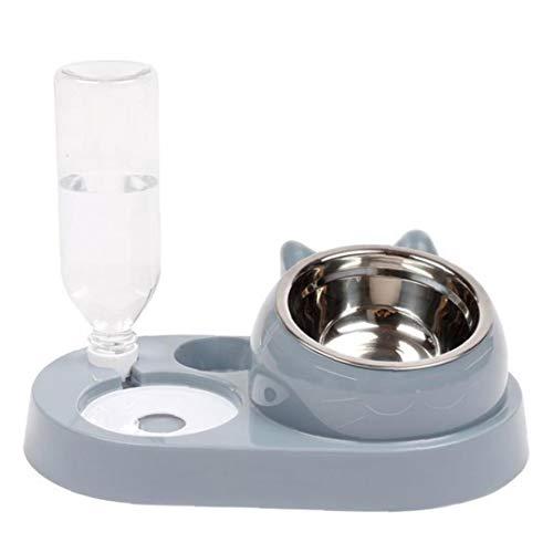 Botella de Pet vibratorio Agua Comida para Gatos comedero para Mascotas alimentador automático Transparente para la Pequeña Mediana Gris del Animal doméstico del Gato Accesorios