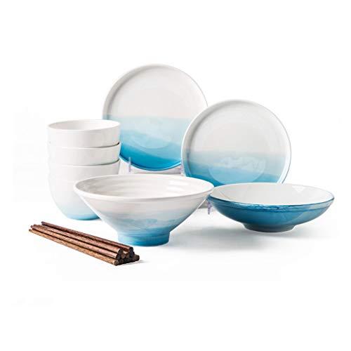 Elegante Juego de 12 Piezas de vajilla de vajilla de cerámica China en el hogar Que comen vajilla Combinación Comidas Diarias (Color : A)