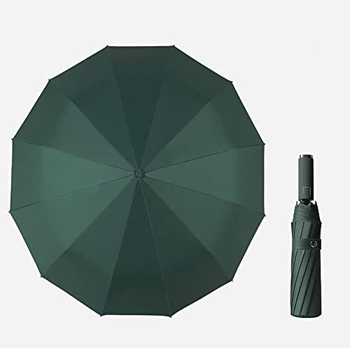 Verde oscuro,Paraguas de viaje a prueba de viento-compacto, ligero, automático, resistente y portátil-a prueba de viento, pequeño paraguas plegable de mochila-macho y hembra 12 costillas