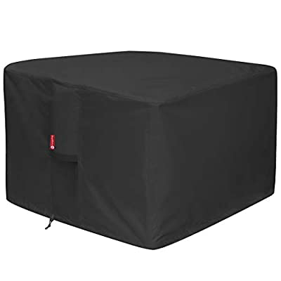 Gas Fire Pit Cover Square - Premium Patio Outdoor Cover Heavy Duty Fabric with PVC Coating,100% Waterproof,Anti-Crack,Fits for 30 inch,31 inch,32 inch Fire Pit / Table Cover (32?L x 32?W x 24?H,Black)