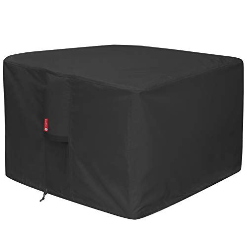 "Gas Fire Pit Cover Square - Premium Patio Outdoor Cover Heavy Duty Fabric with PVC Coating,100% Waterproof,Anti-Crack,Fits for 30 inch,31 inch,32 inch Fire Pit / Table Cover (32""L x 32""W x 24""H,Black)"