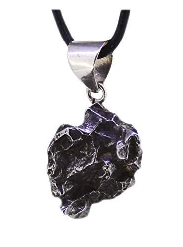 budawi® - Meteorit Anhänger mit 925er Silberöse Campo del Cielo, Eisenmeteorit mit Zertifikat