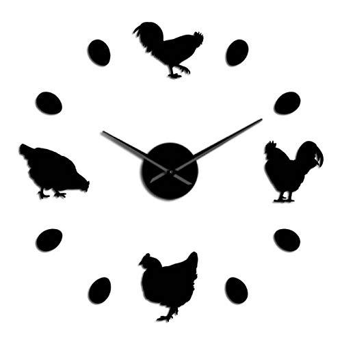 xinxin Relojes de Pared Sin Marco Pollo de Granja y Huevos de Granja Frescos DIY Reloj de Pared Gigante Casa de Campo Decoración de Pared rústica Cocina Reloj de Pared Pegatinas de Espejo