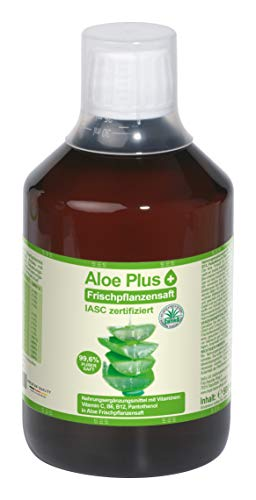 Aloe Vera, PURER SAFT 99.6% | ISAC zertifiziert, 500 ml mit Messbecher | Aloe mit Vitamin C, B5, B6, Biotin, B12 | Nahrungsergänzung, Premium Qualität | Aloe Plus von Secret Essentials