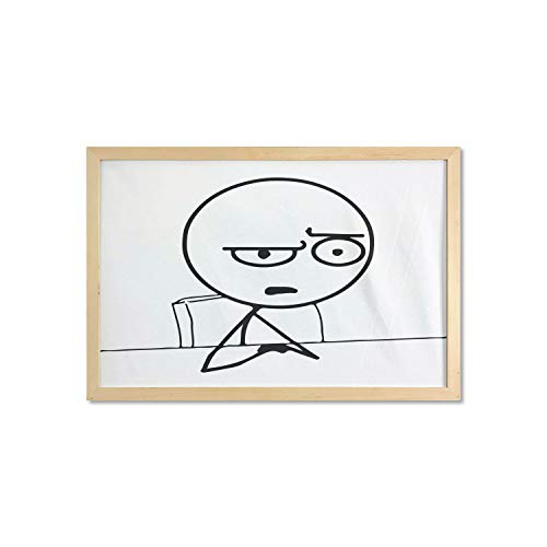 Ambesonne Humor Wall Art with Frame, So What Guy Meme Face Best Avatar WTF Hipster Mascot Snobby Sign Picture, Printed Fabric Poster for Bathroom Living Room Dorms, 35' x 23', Black and White