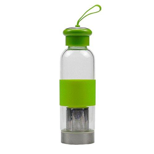 Botella de cristal de agua con el té Infuser, taza de té,...