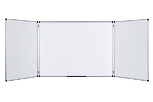 Bi-Office Earth - Tableau Blanc Triptyque Magnétique, Surface Émaillé avec Cadre en Aluminium, 90 x 60 cm Fermé/180 x 60 cm Ouvert
