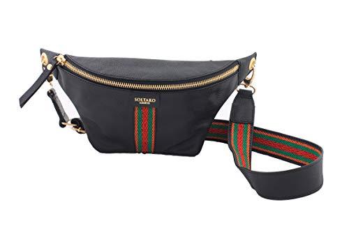 SOLTAKO NUMYDIA (zwart) | Hoogwaardige fanny pack Riementas Hip bag Lederen tas Schoudertas Festival Crossbody Lederen tas gemaakt van echt runderhuid met modieus canvas, klassiek & stijlvol