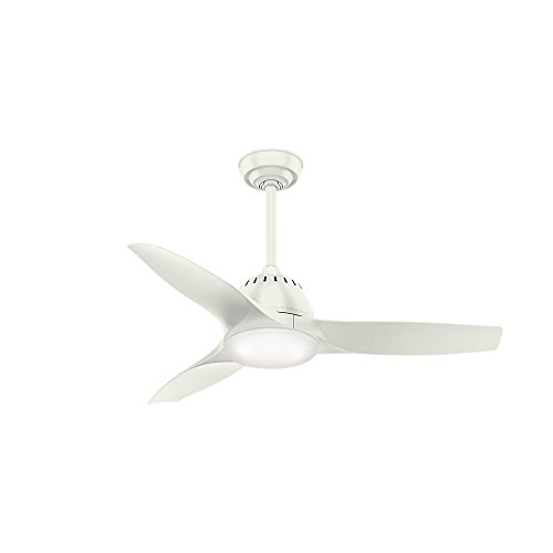 Casablanca Indoor Ceiling Fan with LED Light and remote control - Wisp 44 inch, White, 59286