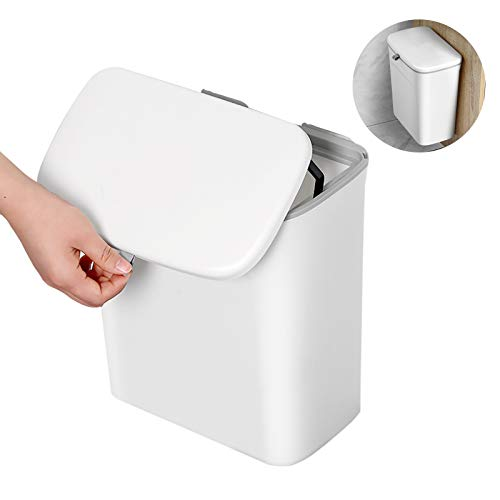 BOOMJOY Hanging Trash Can,Under Sink Trash Can with Slide Lid,Cabinet Door Mounted Compost Bin for Kitchen,Car,Bathroom,Bedroom,Office,Laundry Rooms,Baby Diaper Pail,2.3Gallon,White