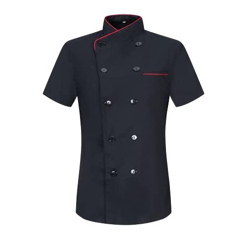 MISEMIYA - Chaquetas Chef Uniforme COCINERA MARMINTÓN SOLLASTRE GUISANDERO ADOBADOR Salsero- Ref.8441 - L, Negro