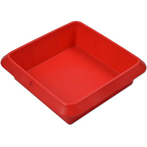Square Cake Pan (7.2×7.2×2.5inch) - Non-Stick Silicone Baking Pan with a Hanging Hole for Convenient Store, Square Baking Pan Perfect for Brownies, Breads and Homemade Cakes (Red)