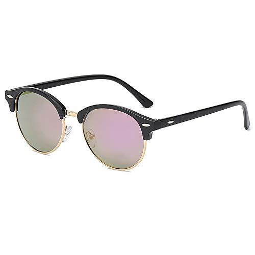 QFSLR Gafas De Sol, Gafas De Sol Clásicas De Media Montura Redonda para Hombre, Protección UV400, Gafas De Sol Polarizadas HD para Mujer,C