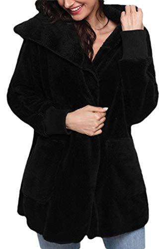 dahuo Damen Zotteljacke mit Kapuze, Fleece, Jacke, Mantel mit Taschen Gr. XS, Schwarz